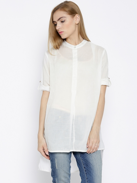 Wills Lifestyle Off-White High-Low Tunic