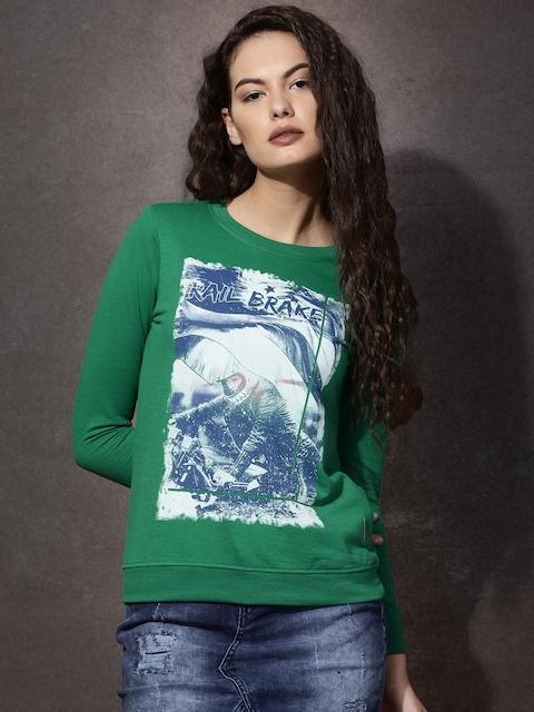 Roadster Green & White Printed Sweatshirt