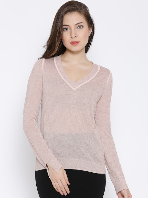 MANGO Dusty Pink Shimmer Top