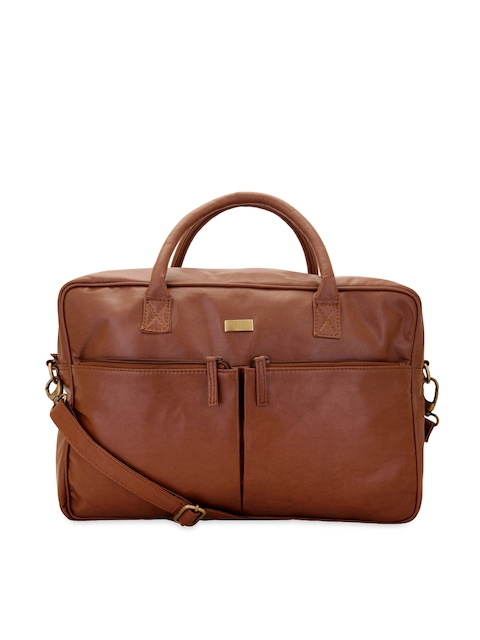yelloe Men Tan Brown Laptop Bag