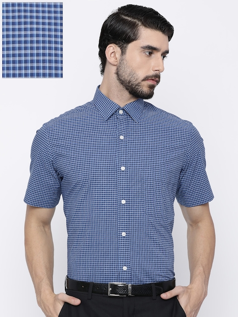 Arrow Men Blue Regular Fit Checked Casual Shirt