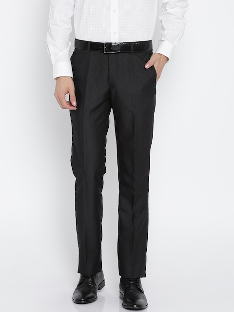 Arrow Men Black Regular Fit Solid Formal Trousers