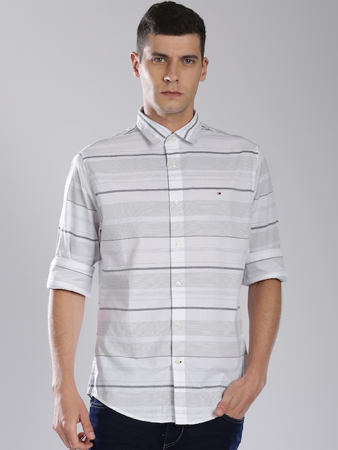 Tommy Hilfiger Grey & White Striped Casual Shirt