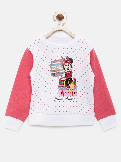 YK Disney Girls White & Pink Printed Sweatshirt