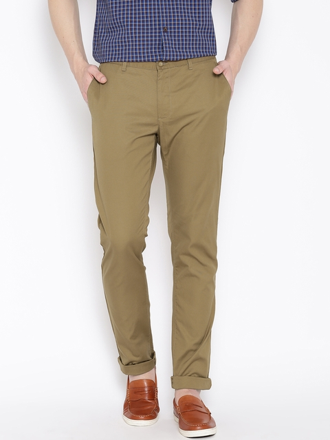Blackberrys Brown Low-Rise Sharp Fit Chino Trousers