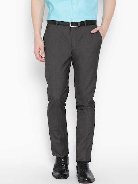 Blackberrys Charcoal Grey Sharp Fit Formal Trousers