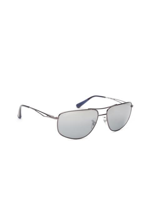 Ray-Ban Men Mirrored Rectangular Sunglasses 0RB3490I029/8262