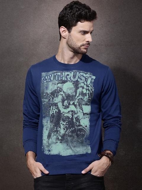 Roadster Blue Printed Sweatshirt
