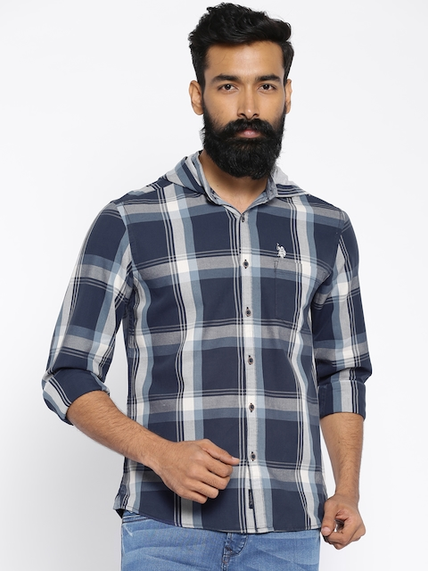 U.S. Polo Assn. Navy Checked Hooded Casual Shirt