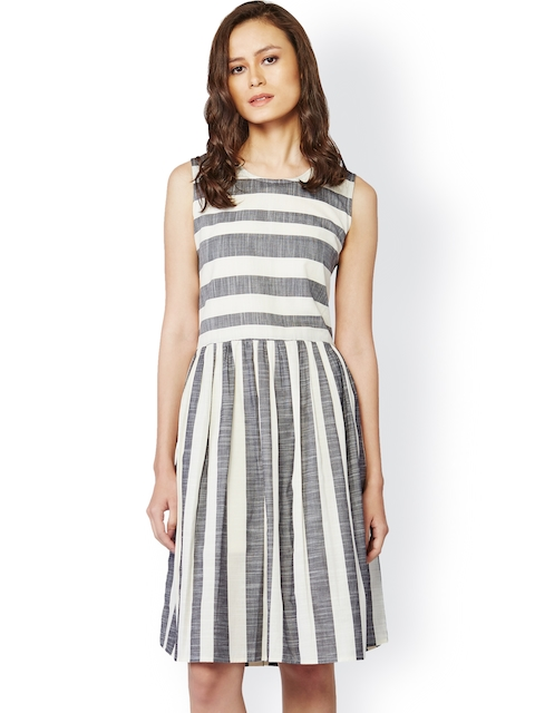 AND Grey & White Striped Fit & Flare Dress