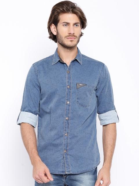 SPYKAR Blue Printed Casual Shirt