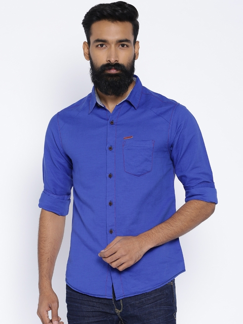 SPYKAR Blue Linen Casual Shirt