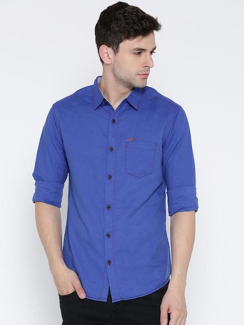 SPYKAR Blue Linen Casual Shirt