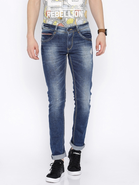 SPYKAR Blue Printed Skinny Fit Stretchable Jeans