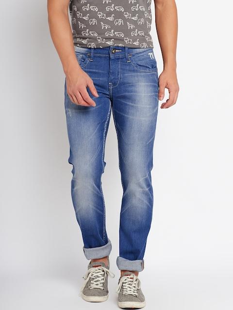 Pepe Jeans Men Blue Regular Fit Mid-Rise Low Distress Stretchable Jeans