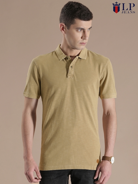 Louis Philippe Jeans Beige Polo T-shirt  available at myntra for Rs.1299