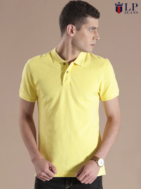 Louis Philippe Jeans Yellow Polo T-shirt  available at myntra for Rs.1299