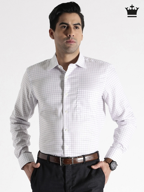 Louis Philippe Permapress White Checked Formal Shirt