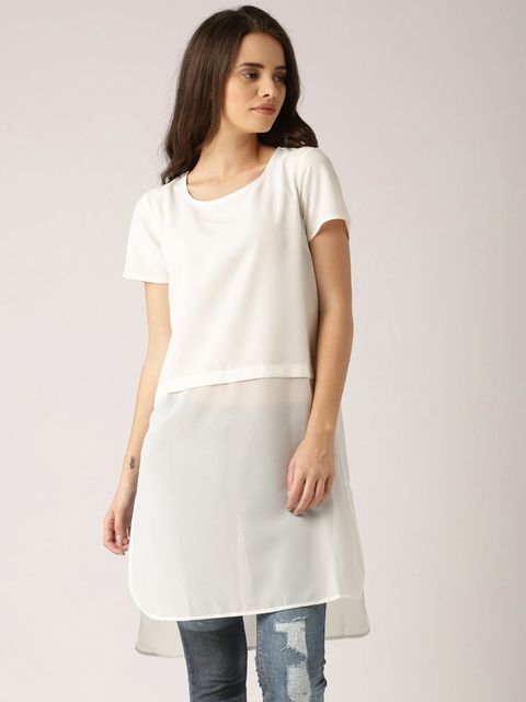 DressBerry Off-White Polyester Maxi Top
