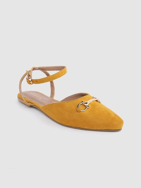 DressBerry Women Mustard Yellow Solid Mules