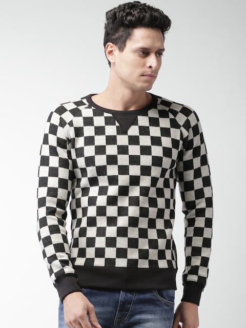 Scotch & Soda Black & Off-White Checked Sweatshirt