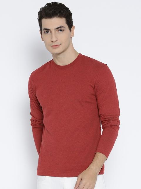 Jockey Men Red Solid Round Neck T-shirt