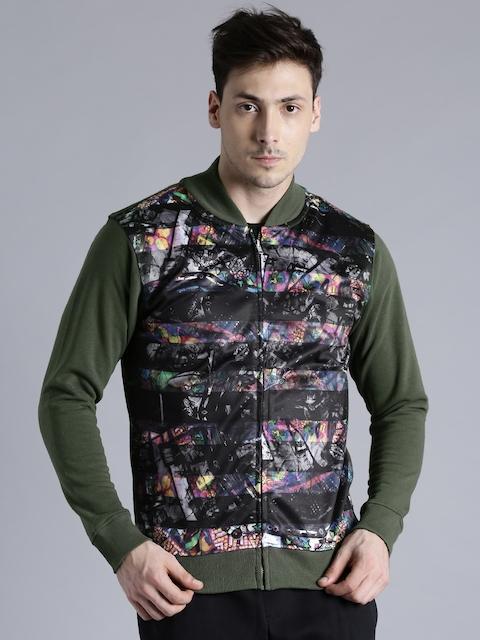 Kook N Keech Black & Olive Green Printed Sweatshirt