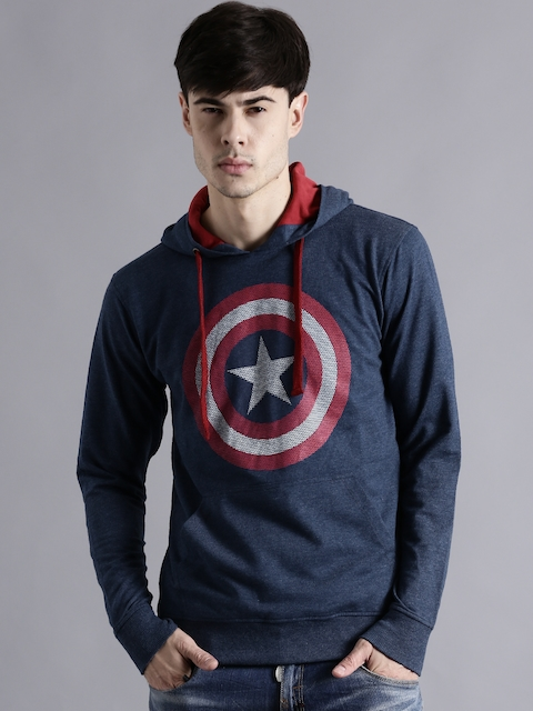 Kook N Keech Marvel Blue Printed Hooded Sweatshirt