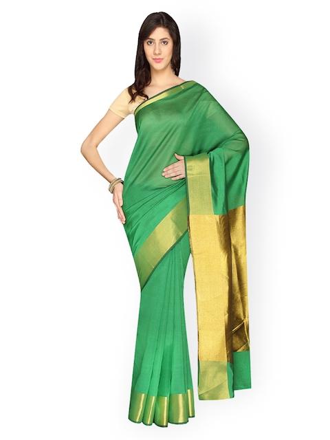 Pavechas Green Banarasi Poly Silk & Cotton Traditional Saree