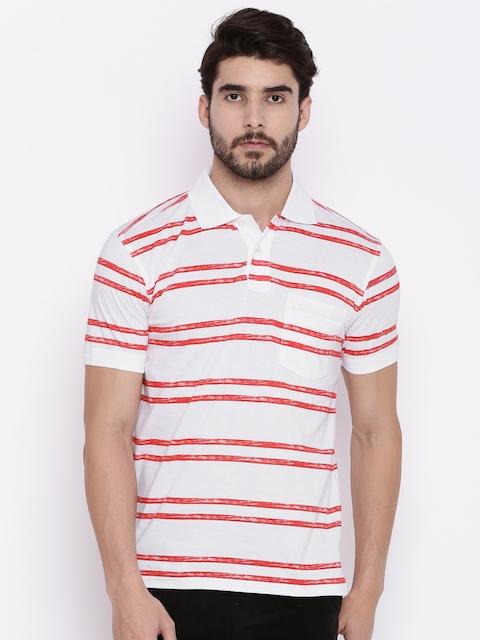 Allen Solly Men White & Red Striped Polo Collar T-shirt
