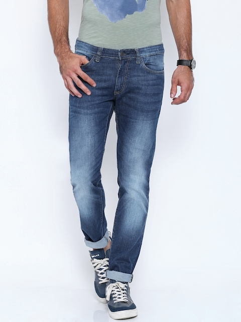 Allen Solly Stretchable Jeans Co. Blue Super-Skinny Fit Stretchable Jeans