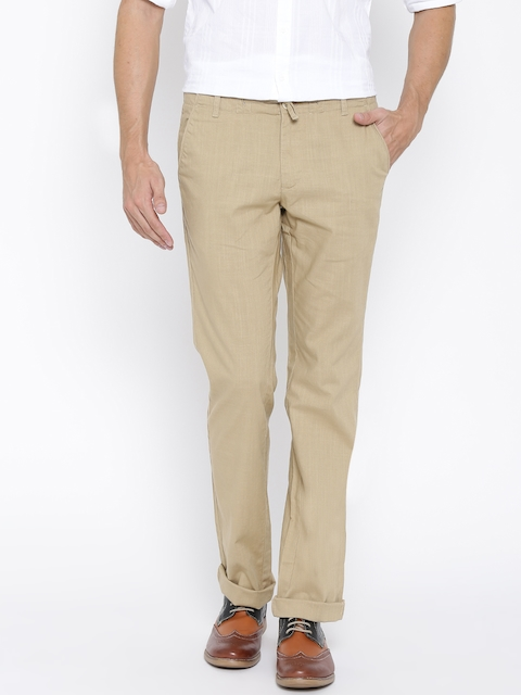 Indian Terrain Beige Brooklyn Slim Fit Casual Trousers