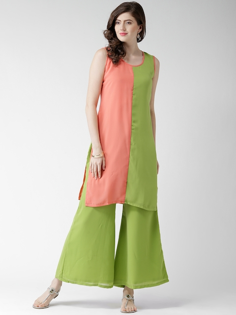 GERUA Coral Pink & Green Polyester Kurta with Palazzo Trousers