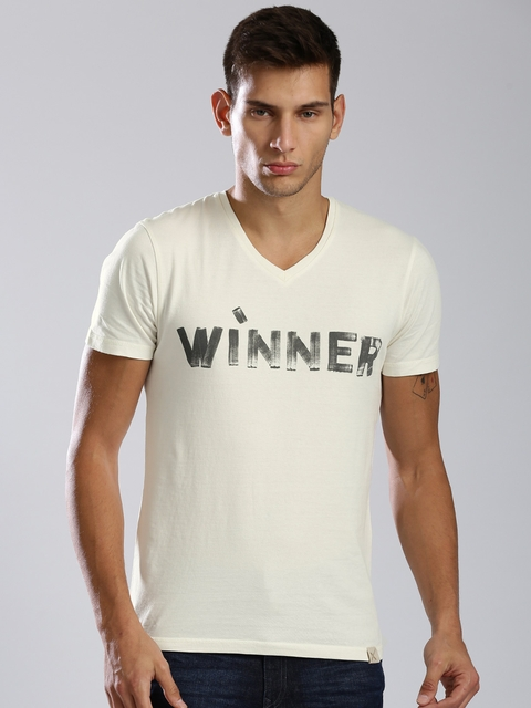 HRX by Hrithik Roshan Men Cream-Coloured Printed T-shirt  available at myntra for Rs.209