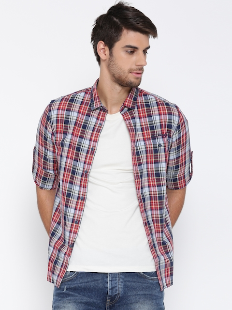 Ed Hardy Men Navy & Red Checked Casual Shirt