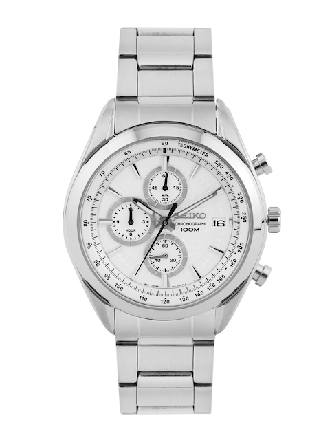 SEIKO Men Off-White Chronograph Dial Watch SSB173P1