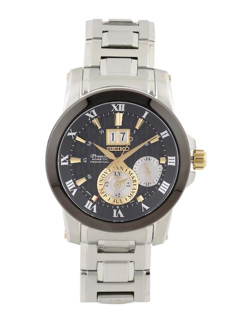 SEIKO PREMIER Men Grey Kinetic Motion Dial Watch SNP129P1