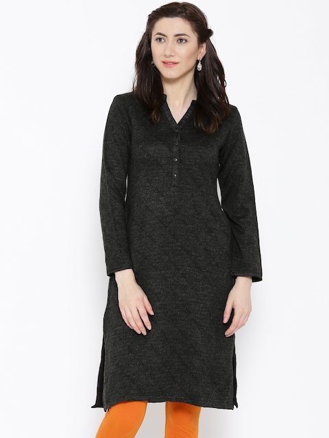 BIBA Charcoal Grey Patterned Winter Kurta