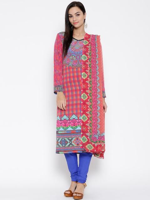 BIBA Pink & Blue Printed Churidar Kurta with Dupatta