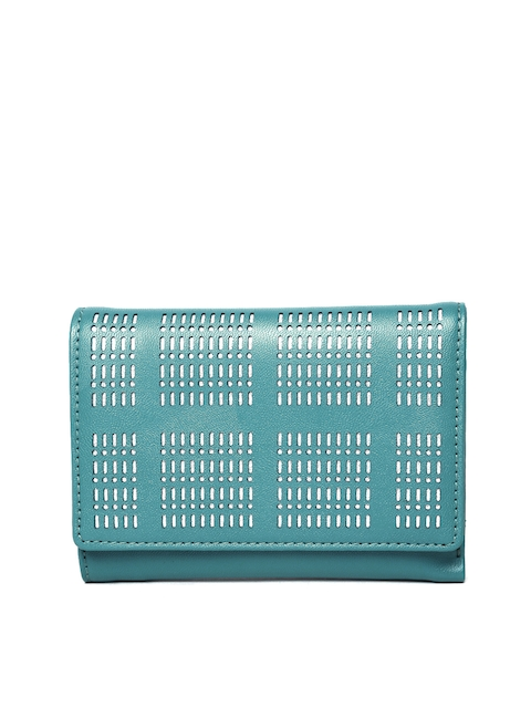 Butterflies Women Teal Blue Cut-Out Textured Wallet  available at myntra for Rs.499