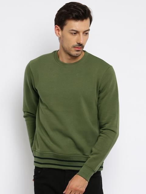 Moda Rapido Men Olive Green Sweatshirt