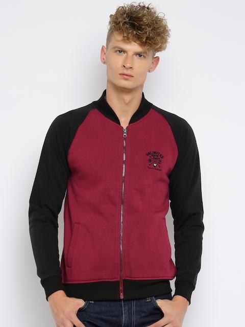 Moda Rapido Men Red & Black Colourblocked Sweatshirt