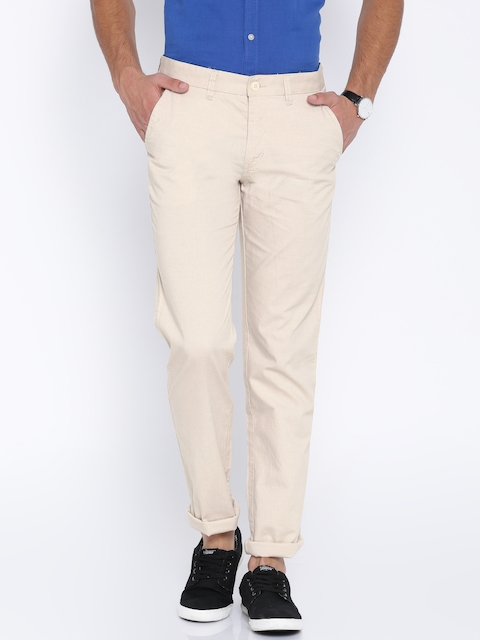 Van Heusen Sport Men Beige Solid Slim Fit Flat-Front Trousers