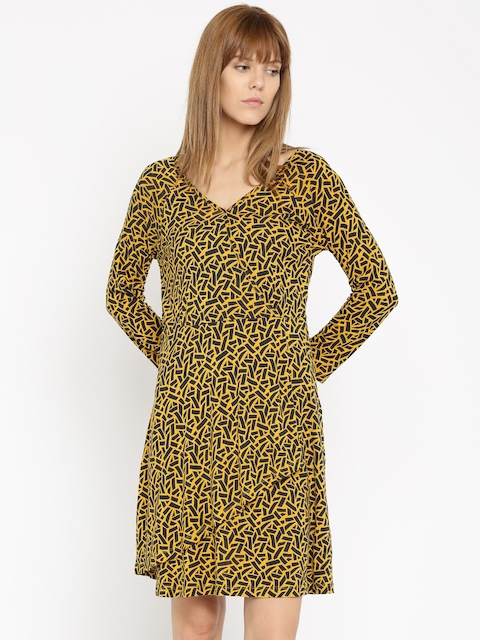 DressBerry Women Yellow & Navy Printed Wrap Dress  available at myntra for Rs.389