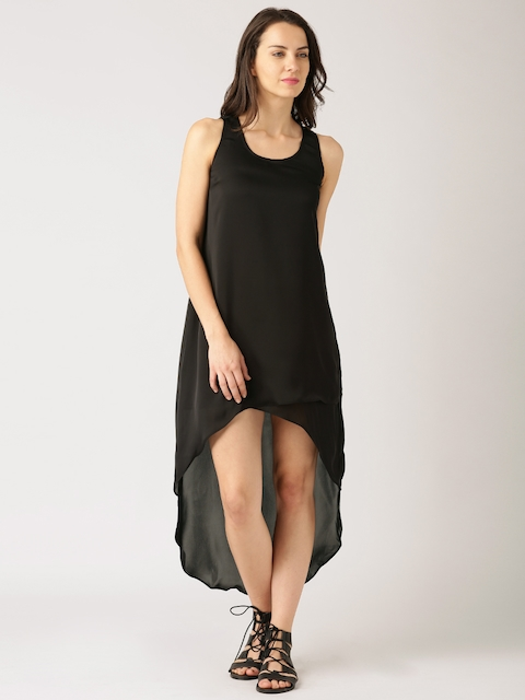 DressBerry Women Black Solid High-Low Maxi Dress  available at myntra for Rs.449