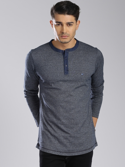 Tommy Hilfiger Grey Melange Henley Sweatshirt