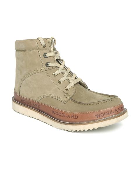 Woodland Men Khaki Suede Boots