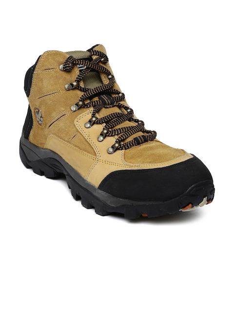 Woodland Men Tan Brown Leather Trekking Boots