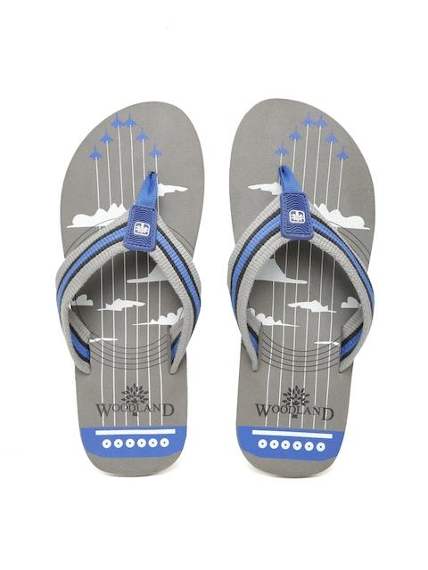 Woodland ProPlanet Men Grey & Blue Printed Flip-Flops