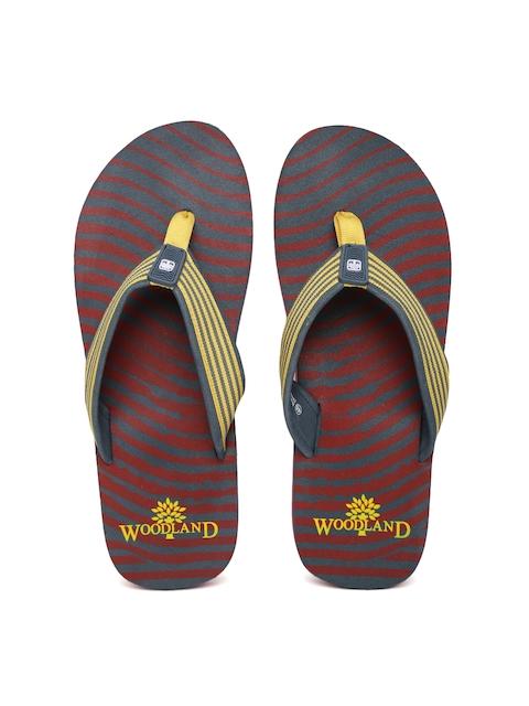 Woodland ProPlanet Men Yellow & Grey Striped Flip-Flops